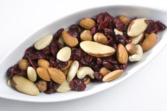 Assortment of nuts and dried cranberries. In white dishware Royalty Free Stock Photography