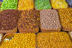 Assortment of nuts and dried fruits Stock Images