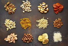 Assortment of nuts,dried fruits and seeds.Concept of healthy sna stock images