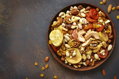 Assortment of nuts,dried fruits and seeds.Concept of healthy sna Stock Photo