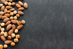 Assortment of nuts with free space for text. Stock Images