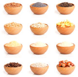 Assortment of nuts and grits Royalty Free Stock Image