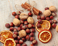 Assortment of nuts and spices on a table Stock Photos