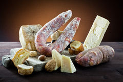 Assortment Of Cheese And Salami Royalty Free Stock Photo