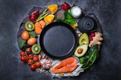 Free Assortment Of Healthy Food, Superfood Ingredients For Cooking On Table Stock Photo - 172118130