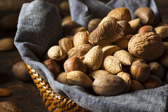 Assortment Of Whole Raw Mixed Nuts Stock Photography