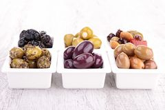 Assortment of olives Royalty Free Stock Images