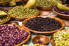 Assortment of olives on market in Provence. France Stock Photos