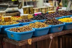 Assortment of olives on market,Tel Aviv,Israel Stock Image