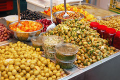 Assortment of olives, pickles and salads Royalty Free Stock Photo
