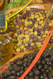 Assortment of olives salads on the market Royalty Free Stock Photos