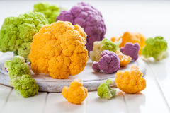 Assortment of organic cauliflower. From local market Royalty Free Stock Image