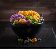 Assortment of organic cauliflower. From local market Stock Image