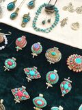 Turquoise Blue and Silver Jewelry Display royalty free stock images