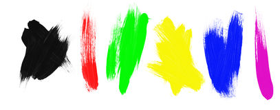 Assortment of paint brush strokes Stock Photos