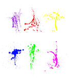 Assortment of paint splatters. An assortment of colorful paint splatters.  I have set up the file so designers can pick and choose spatter styles.  Designers Stock Images