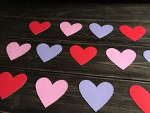 Assortment of paper hearts for Valentine's Day Royalty Free Stock Photography