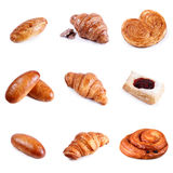 Assortment pastries and bakery  on white background Stock Photography