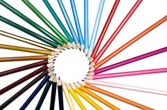 Assortment pencils circle wheel like sun ray Stock Photos