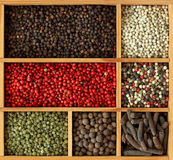 Assortment of peppercorns stock photo