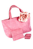 Assortment of pink handbags stock image