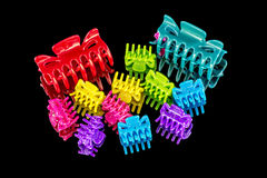 Assortment of plastic hair clips Stock Image