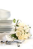 Assortment of plates for wedding Stock Photography
