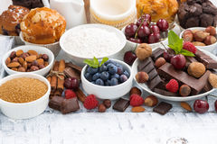 Assortment products for baking cakes Royalty Free Stock Photo