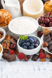 Assortment products for baking cakes, vertical Royalty Free Stock Images