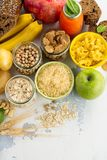 Assortment of products rich of carbohydrates Stock Image