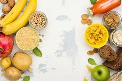 Assortment of products rich of carbohydrates Royalty Free Stock Photos
