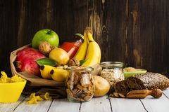 Assortment of products rich of carbohydrates Stock Photography