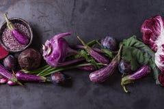 Assortment of purple vegetables. Assortment raw organic of purple vegetables mini eggplants, spring onion, beetroot, radicchio salad, plums, kohlrabi, flower Royalty Free Stock Photos