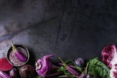 Assortment of purple vegetables. Assortment raw organic of purple vegetables mini eggplants, spring onion, beetroot, radicchio salad, plums, kohlrabi, flower Stock Images