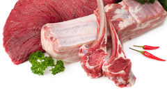 Assortment of raw meat royalty free stock photos