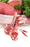 Assortment of raw meat stock image
