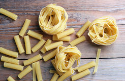 Assortment of raw pasta Stock Images