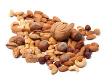 Assortment of raw and roasted nuts Royalty Free Stock Photography
