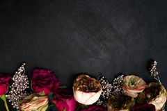 Red pink roses silver decor dark floral background Royalty Free Stock Image