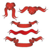 Assortment of red ribbons. A view of an assortment of illustrations of red ribbons and bows on a white background Stock Images