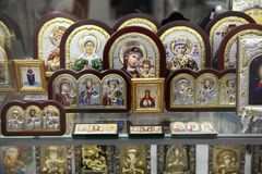 Assortment of religious Orthodox icons as a gift. Moscow. 12.10. royalty free stock photo