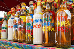 Assortment of rhum bottles at the market Royalty Free Stock Photos