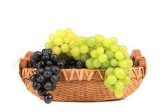 Assortment of ripe grapes in basket. Stock Image
