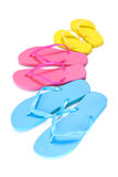 Assortment of rubber flip flops in multiple colors Royalty Free Stock Images