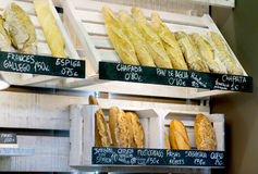 An assortment of rustic breads Royalty Free Stock Photos
