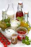 Assortment of salad dressings Stock Photo