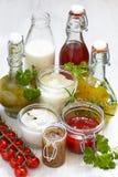 Assortment of salad dressings. Assortment of homemade salad dressings and sauce Stock Photo