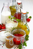Assortment of salad dressings. Assortment of homemade salad dressings and sauce Royalty Free Stock Photography