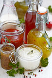 Assortment of salad dressings. Assortment of homemade salad dressings and sauce Stock Photography