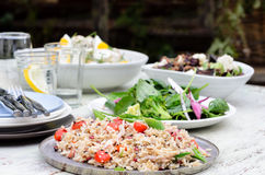 Assortment of salad sides for lunch party Stock Photos